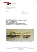Certificato Spf n 1 di test e collaudo